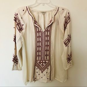 Lucky Brand Boho Inspired Embroidered Peasant Top